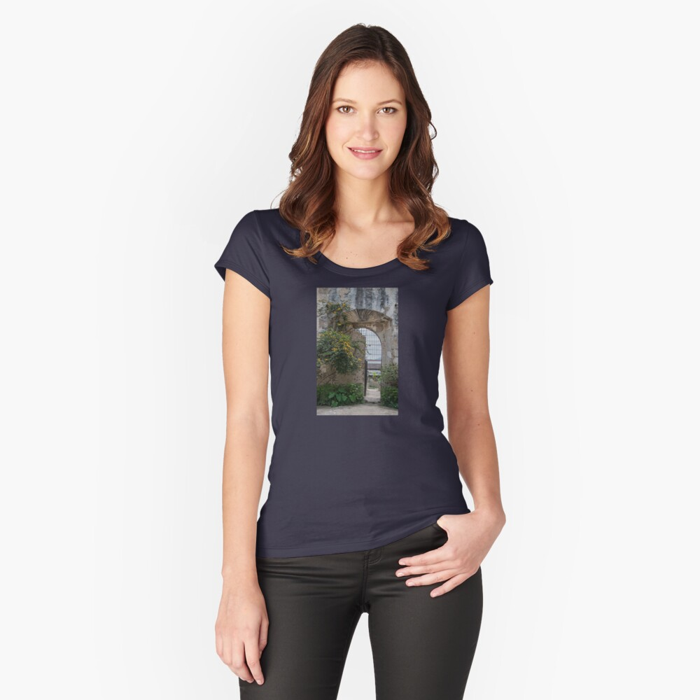 New Life by Old Wall and Gate in Antigua, Guatemala Women's Fitted Scoop T-Shirt Front