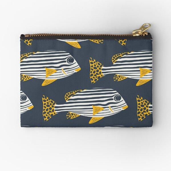 Sweetlips Striped Tropical Fish Pattern Zipper Pouch