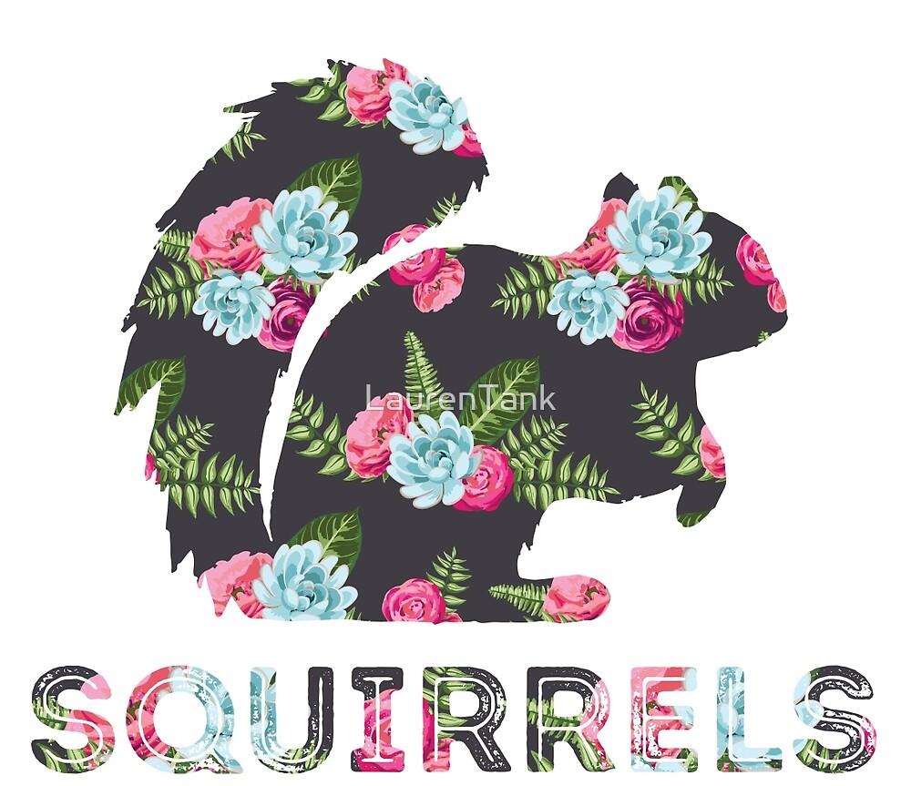 Squirrels - Floral by LaurenTank