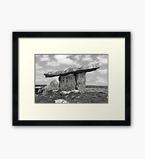 ancient poulnabrone dolmen tomb in black and white Framed Print