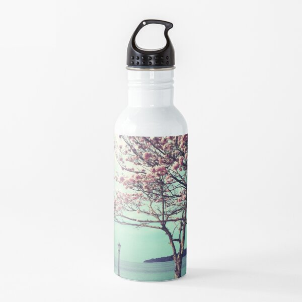 Blooms by the Sea - Panama Landscape - Pink Guayacan Tree Water Bottle