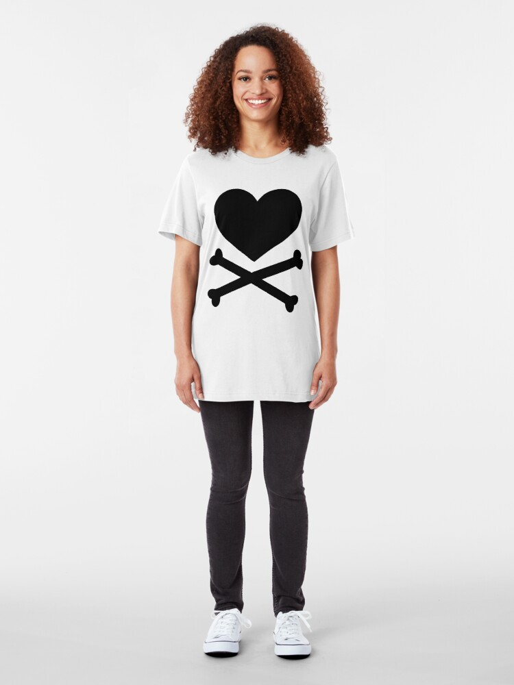 Alternate view of Pirate Love (Black). Slim Fit T-Shirt