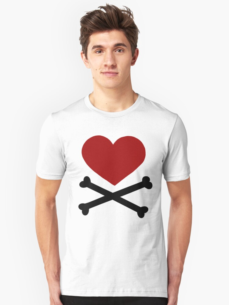 Alternate view of Pirate Love (Red/Black). Slim Fit T-Shirt