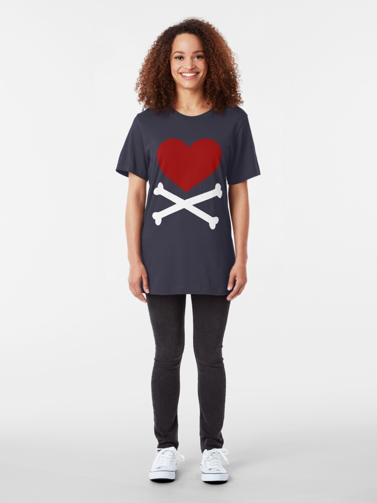 Alternate view of Pirate Love (Red/White). Slim Fit T-Shirt