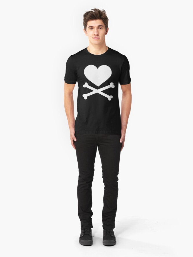 Alternate view of Pirate Love (White). Slim Fit T-Shirt