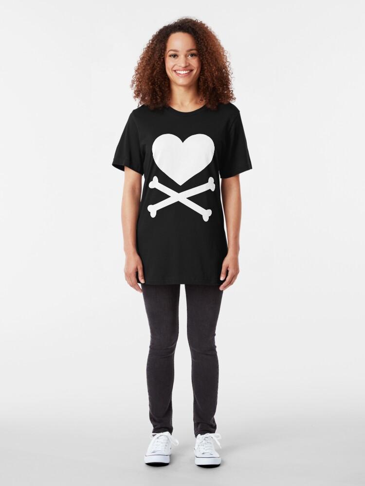 Alternate view of Pirate Love (White). Slim Fit T-Shirt