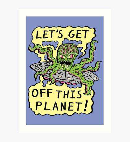 Alien UFO Escape Lámina artística