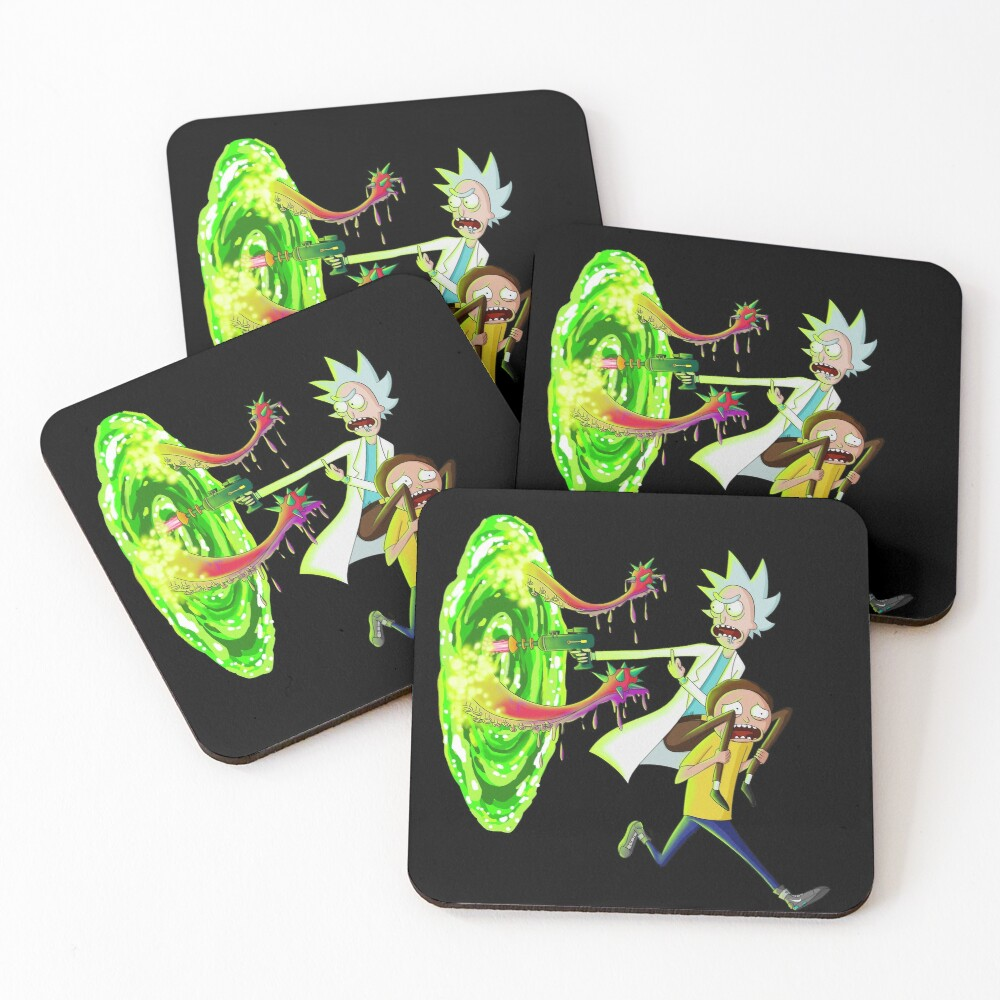 Rick and morty portal monster Coasters (Set of 4)