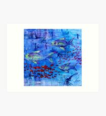 Fishscape with squid Art Print