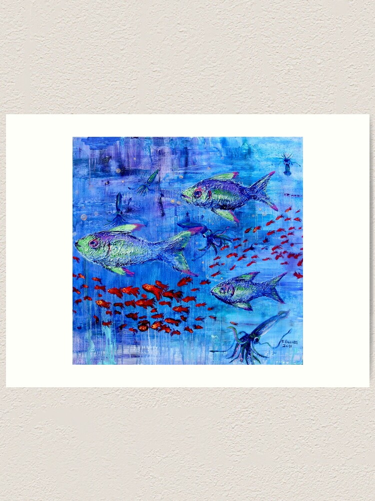 Alternate view of Fishscape with squid Art Print