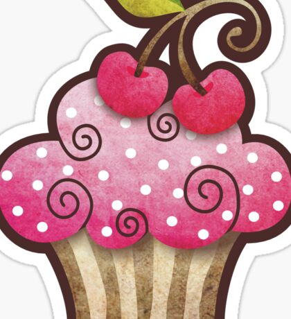 Cherry Berry Cupcake Sticker