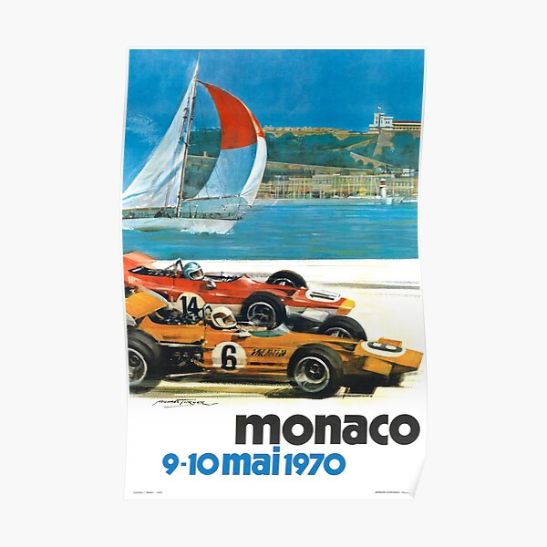 1970 Monaco Grand Prix Racing Poster Póster