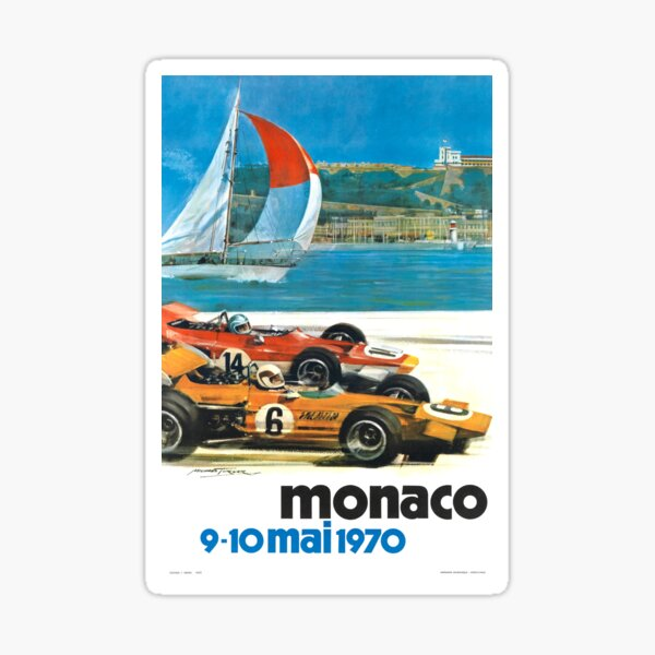 Poster du Monaco Grand Prix 1970 Sticker