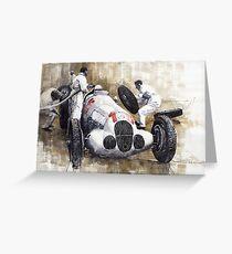 Nurburgring Pit Stop 1937 Hermann Lang MB W125 Greeting Card