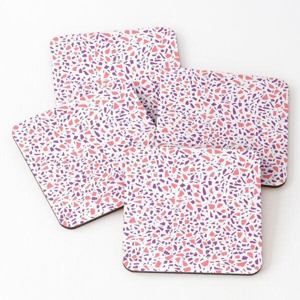 AFE Terrazzo Pattern – Watermelon Red & Violet Coasters (Set of 4)
