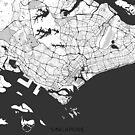Singapur Karte grau von HubertRoguski