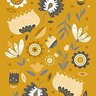 Floral Folk Art in Mustard Yellow by latheandquill