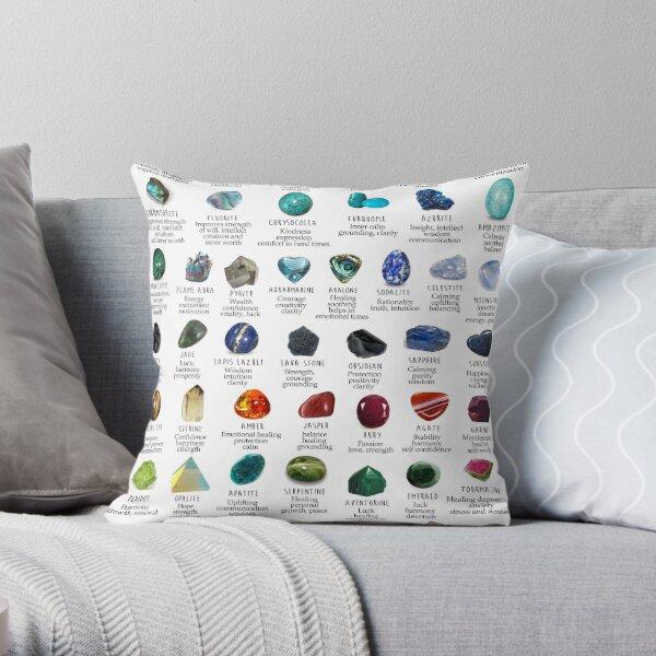 crystals gemstones identification Throw Pillow