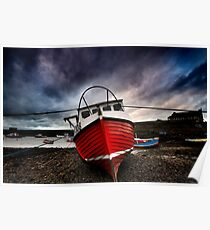 Red Boat at Paddys Poster