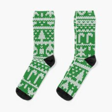 Happy Christmas Pattern Socks  & I phone Phone Cases, Skins & Tees  - knitting pattern image only, not the knitting Socks