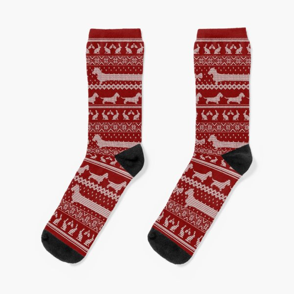 Ugly Christmas sweater dog edition - Rough haired Dachshund red Socks