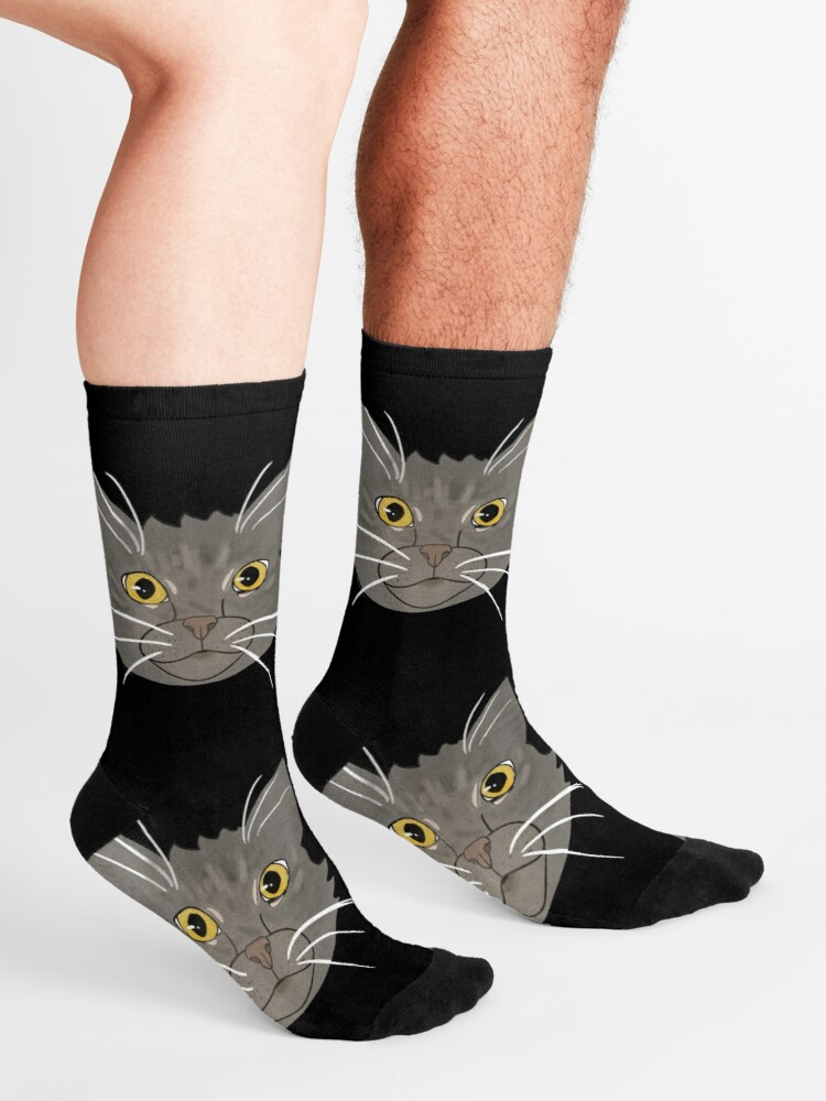 Ladies Grey Socks with Cat Face details Size 4-8