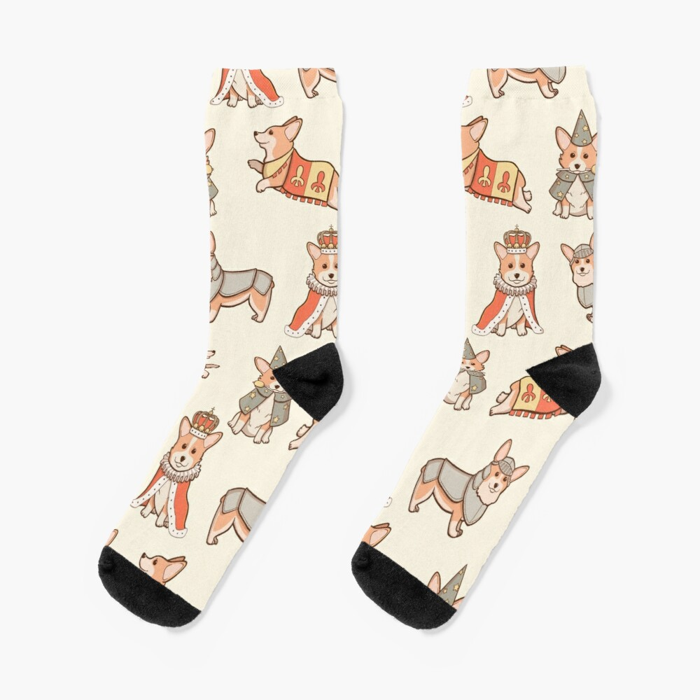 Medieval Fantasy Corgi Socks