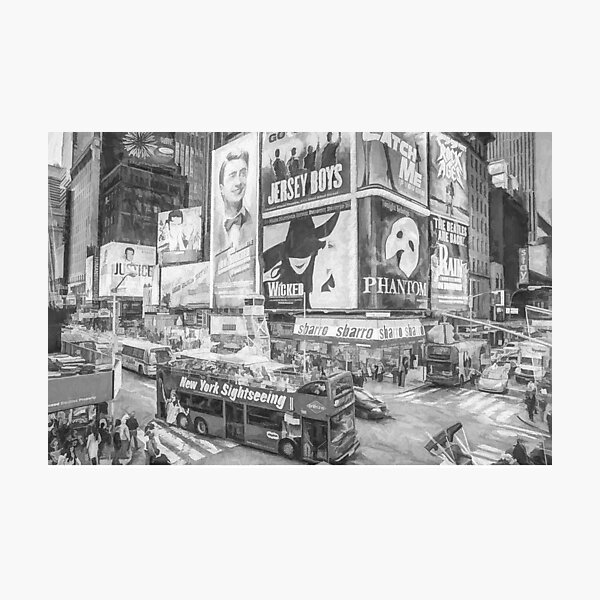 Times Square II (black & white pen and ink sketch) Photographic Print