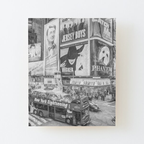 Times Square II (black & white pen and ink sketch) Wood Mounted Print