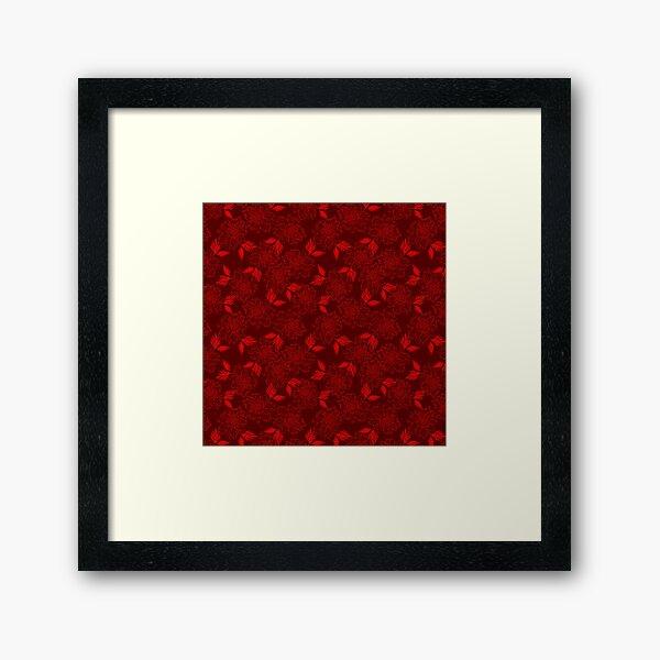 Délicates élégantes élégantes subtiles belles belles fleurs à fleurs bordeaux rouge foncé. Thème botanique floral. Éléments de la plante, feuilles, modèle sans couture de pétales. Impression encadrée