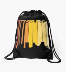 Retro 1980s Pittsburgh City Skyline Silhouette Drawstring Bag