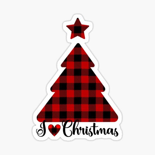 Red Buffalo Plaid  I love Christmas Sticker