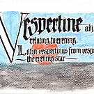 Vespertin Etymologie und Definition in der Kalligraphie von Ian K.