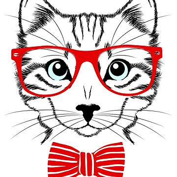Hipster Cat T-Shirt by juankdef