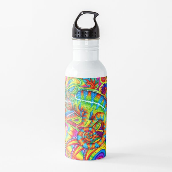 Psychedelizard Psychedelic Chameleon Colorful Rainbow Lizard Water Bottle