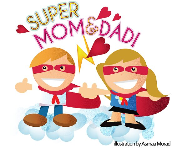 Super Mom & Dad illustration by one8edegre