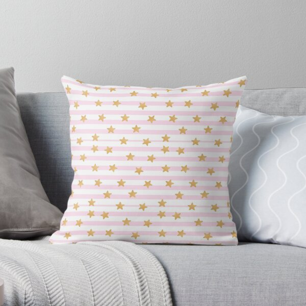 pink and white stripes with gold stars kawaii  Throw Pillow