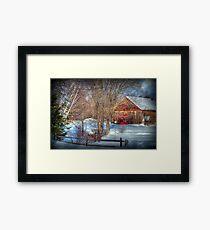 Rustic Winter Barn Framed Print