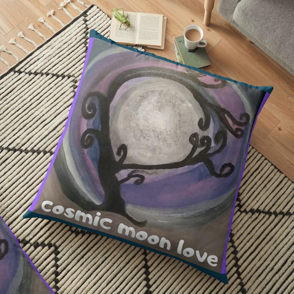 COSMIC GALAXY MOON (ACRYLIC PAINTING)  Floor Pillow
