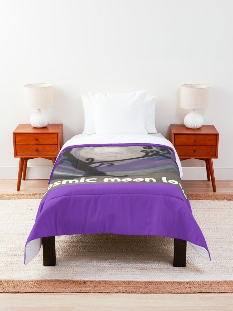 Alternate view of COSMIC GALAXY MOON (ACRYLIC PAINTING)  Comforter