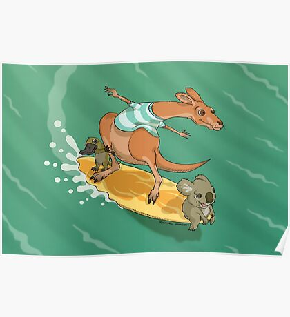 Surfing kangaroo and friends Poster