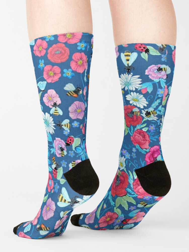 Alternate view of Honey bee, Summer Floral Socks
