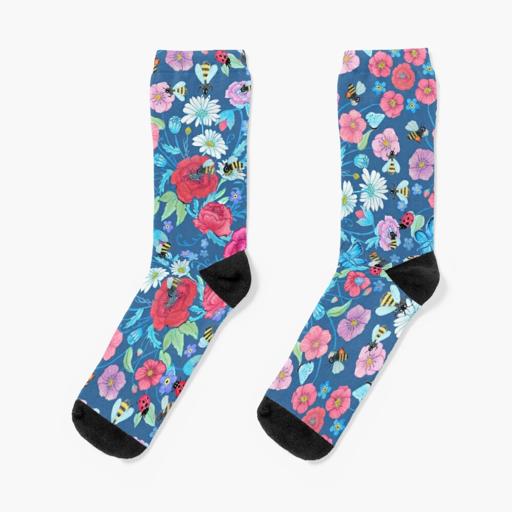 Honey bee, Summer Floral Socks