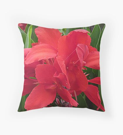 Red Canna - Lily Throw Pillow