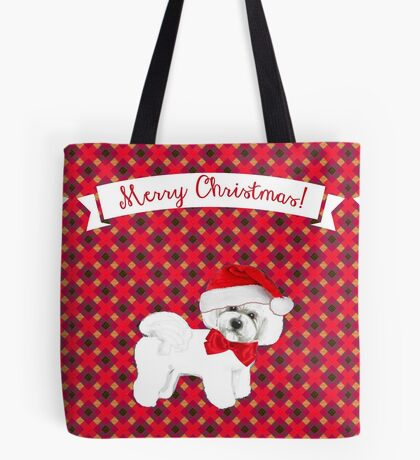 Bichon Frise Christmas Card, New Year Card Tote Bag