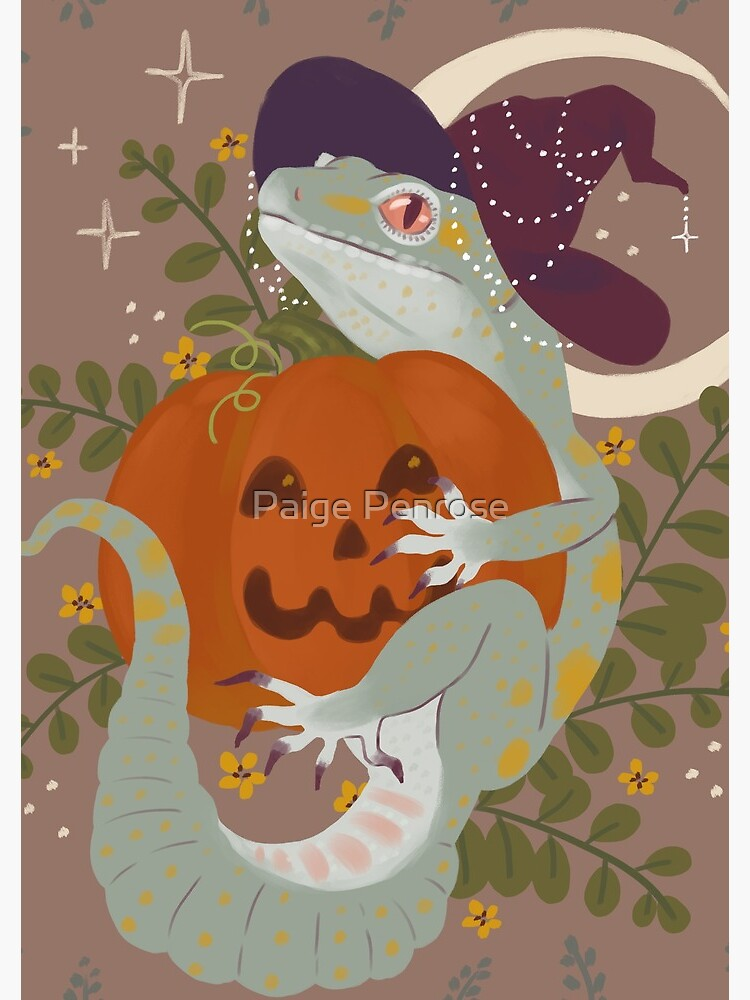 Leopard Gecko and Jack-O-Lantern by starrypaige