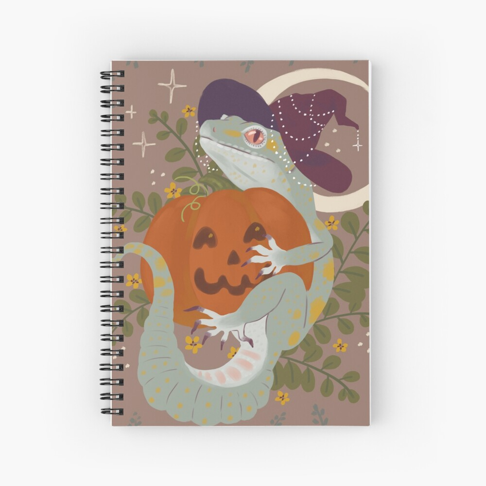 Leopard Gecko and Jack-O-Lantern Spiral Notebook