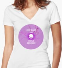Keep Calm and Dead Scream- Sailor Moon Women's Fitted V-Neck T-Shirt