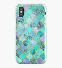 Cool Jade & Icy Mint Decorative Moroccan Tile Pattern iPhone Case/Skin