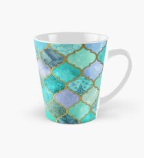 Cool Jade & Icy Mint Decorative Moroccan Tile Pattern Tall Mug